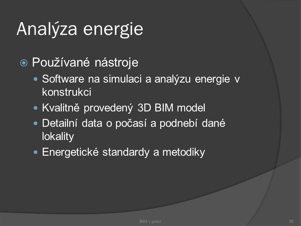 Analýza energie  Používané nástroje Software na simulaci a analýzu energie v konstrukci Kvalitně provedený 3D BIM model Detailní data o počasí a podn