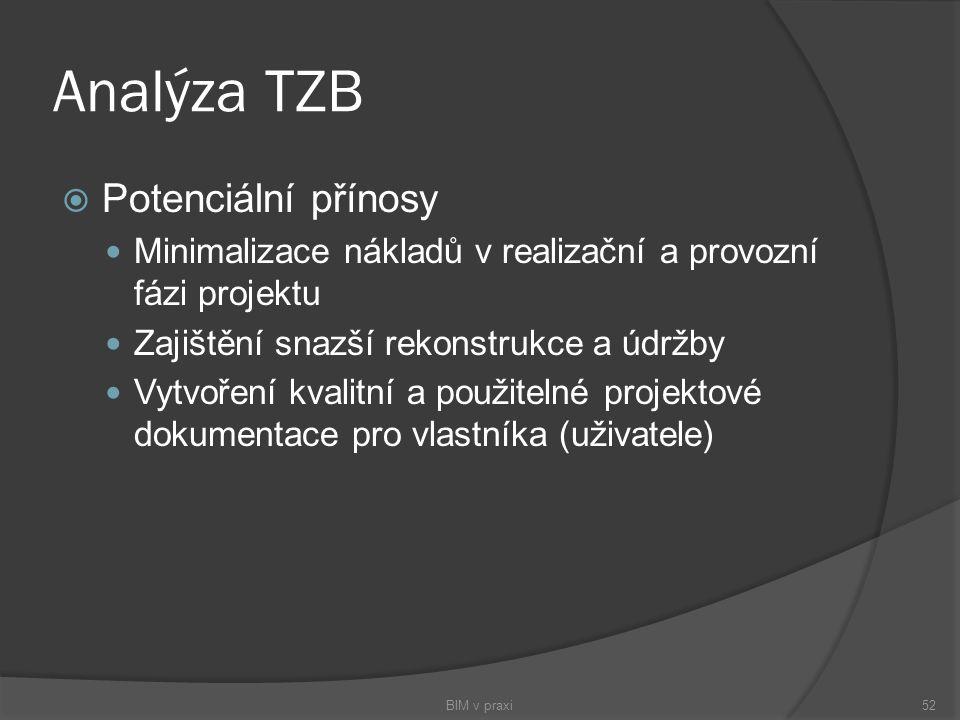 Analýza TZB  Potenciální přínosy Minimalizace nákladů v realizační a provozní fázi projektu Zajištění snazší rekonstrukce a údržby Vytvoření kvalitní
