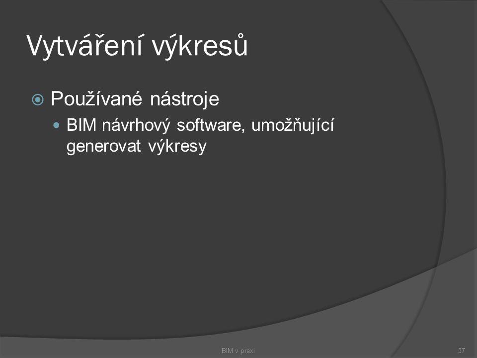 Vytváření výkresů  Používané nástroje BIM návrhový software, umožňující generovat výkresy BIM v praxi57