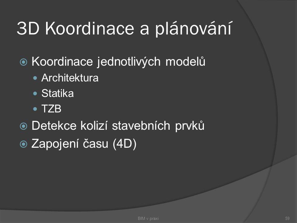 3D Koordinace a plánování  Koordinace jednotlivých modelů Architektura Statika TZB  Detekce kolizí stavebních prvků  Zapojení času (4D) BIM v praxi