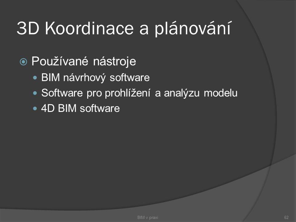3D Koordinace a plánování  Používané nástroje BIM návrhový software Software pro prohlížení a analýzu modelu 4D BIM software BIM v praxi62