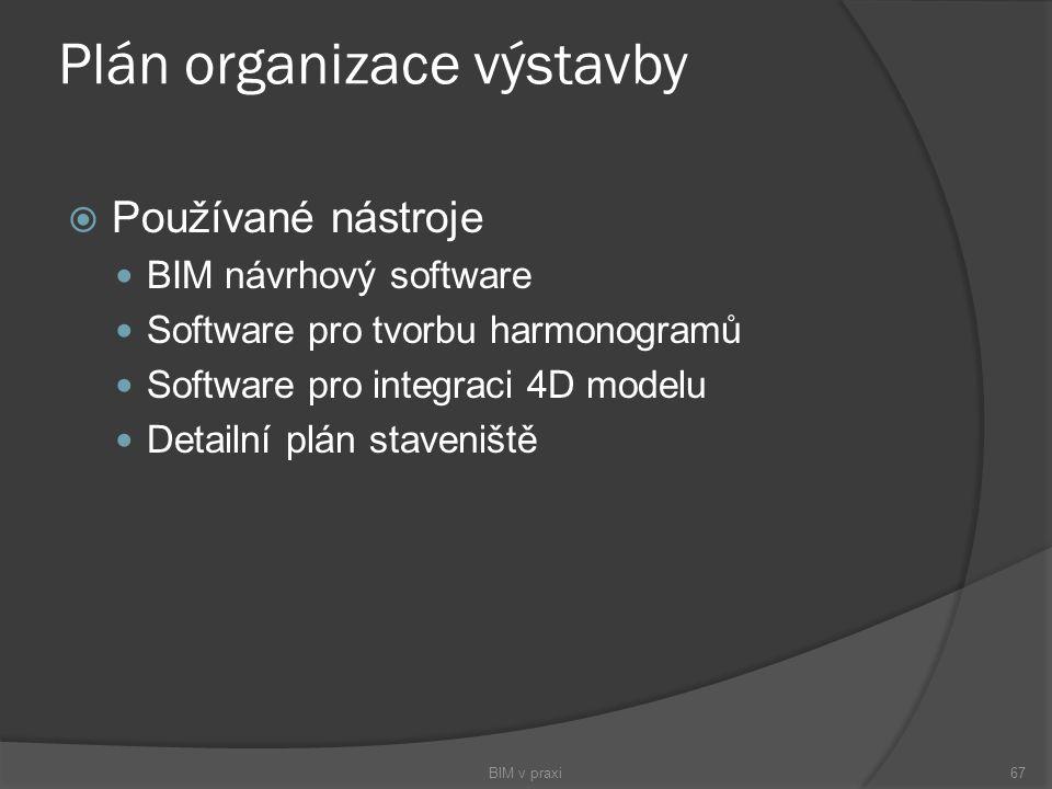 Plán organizace výstavby  Používané nástroje BIM návrhový software Software pro tvorbu harmonogramů Software pro integraci 4D modelu Detailní plán st