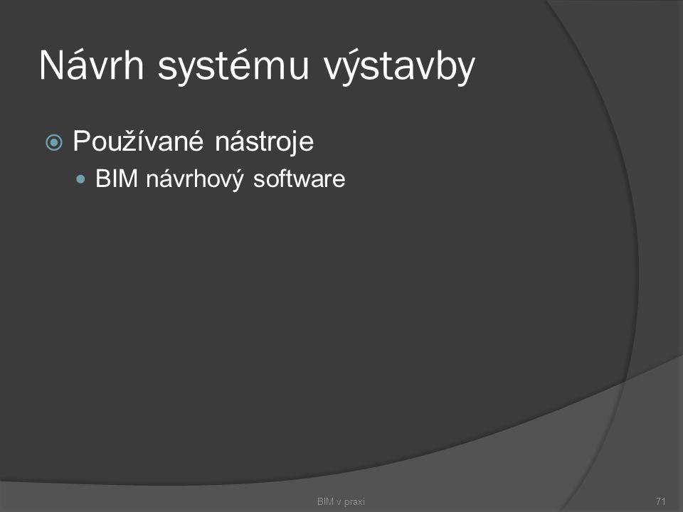 Návrh systému výstavby  Používané nástroje BIM návrhový software BIM v praxi71
