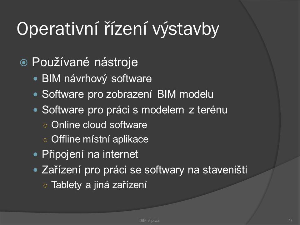 Operativní řízení výstavby  Používané nástroje BIM návrhový software Software pro zobrazení BIM modelu Software pro práci s modelem z terénu ○ Online