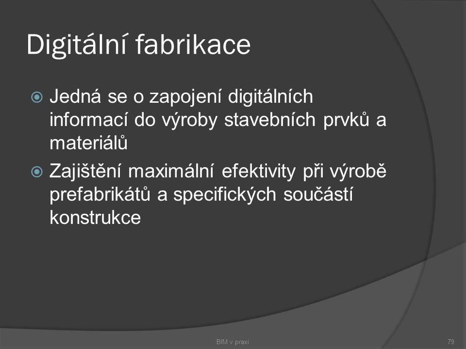 Digitální fabrikace  Jedná se o zapojení digitálních informací do výroby stavebních prvků a materiálů  Zajištění maximální efektivity při výrobě pre