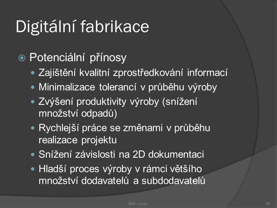 Digitální fabrikace  Potenciální přínosy Zajištění kvalitní zprostředkování informací Minimalizace tolerancí v průběhu výroby Zvýšení produktivity vý