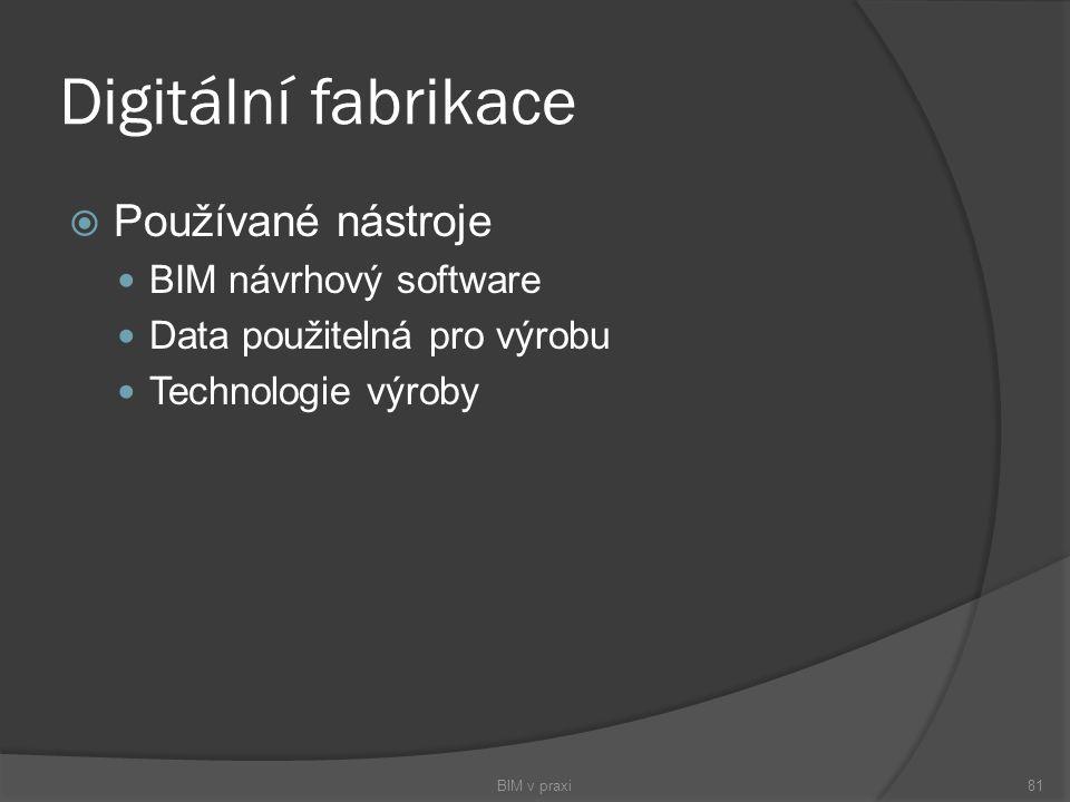 Digitální fabrikace  Používané nástroje BIM návrhový software Data použitelná pro výrobu Technologie výroby BIM v praxi81