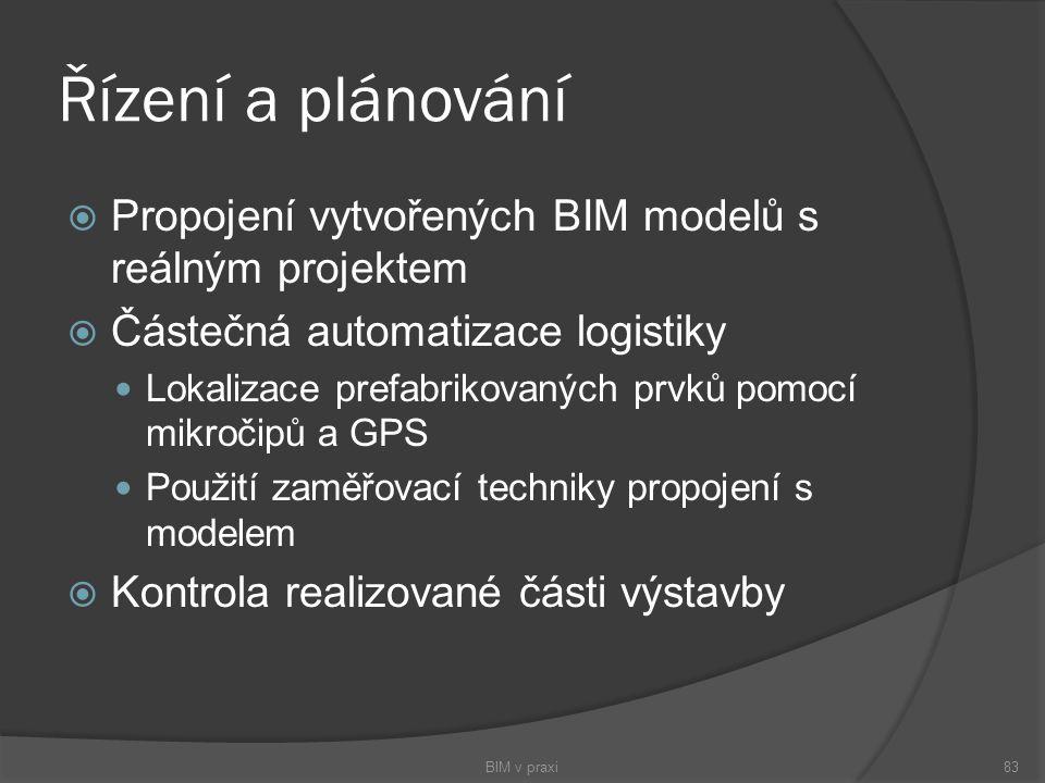 Řízení a plánování  Propojení vytvořených BIM modelů s reálným projektem  Částečná automatizace logistiky Lokalizace prefabrikovaných prvků pomocí m