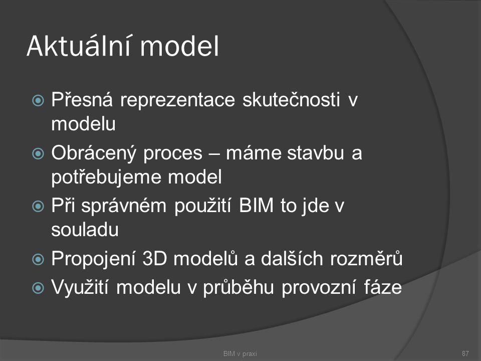 Aktuální model  Přesná reprezentace skutečnosti v modelu  Obrácený proces – máme stavbu a potřebujeme model  Při správném použití BIM to jde v soul