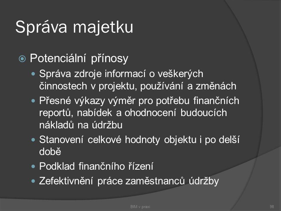 Správa majetku  Potenciální přínosy Správa zdroje informací o veškerých činnostech v projektu, používání a změnách Přesné výkazy výměr pro potřebu fi