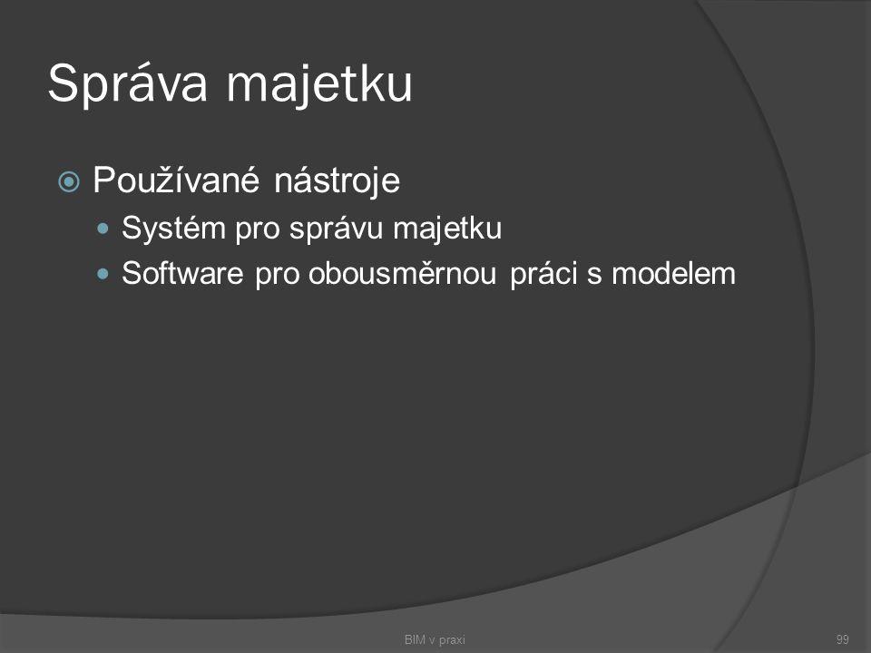 Správa majetku  Používané nástroje Systém pro správu majetku Software pro obousměrnou práci s modelem BIM v praxi99