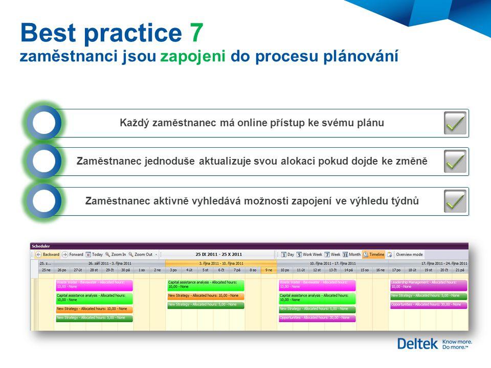 Best practice 7 zaměstnanci jsou zapojeni do procesu plánování Každý zaměstnanec má online přístup ke svému plánu Zaměstnanec jednoduše aktualizuje sv