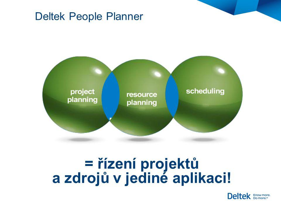 = řízení projektů a zdrojů v jediné aplikaci! Planning Deltek People Planner