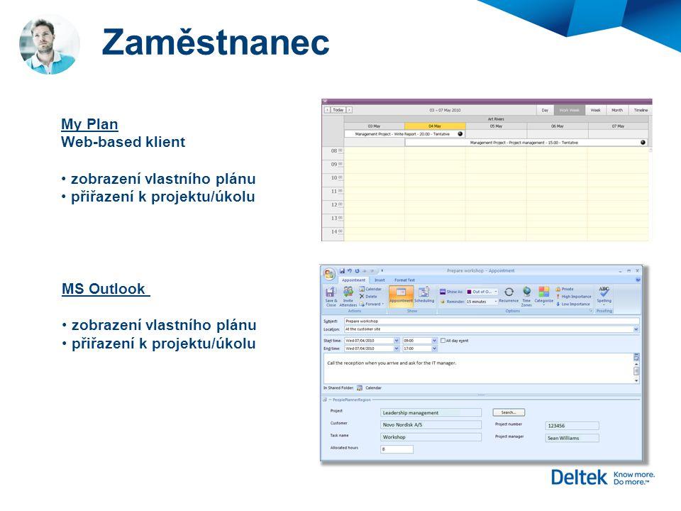Zaměstnanec My Plan Web-based klient zobrazení vlastního plánu přiřazení k projektu/úkolu MS Outlook zobrazení vlastního plánu přiřazení k projektu/úk