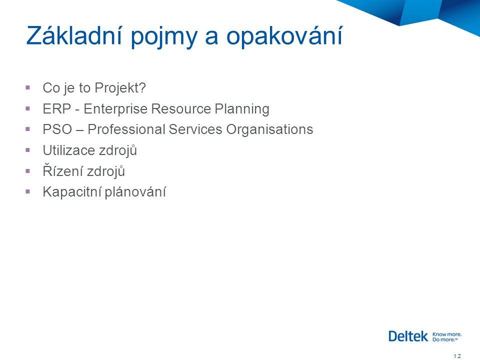  Co je to Projekt?  ERP - Enterprise Resource Planning  PSO – Professional Services Organisations  Utilizace zdrojů  Řízení zdrojů  Kapacitní pl