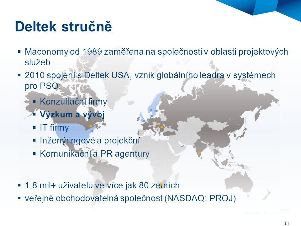 Deltek stručně  Maconomy od 1989 zaměřena na společnosti v oblasti projektových služeb  2010 spojení s Deltek USA, vznik globálního leadra v systéme
