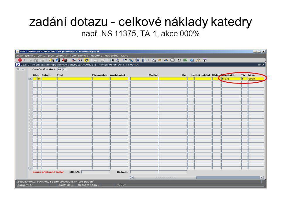 zadání dotazu - celkové náklady katedry např. NS 11375, TA 1, akce 000%