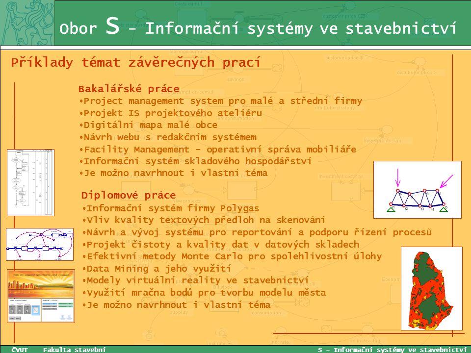 Obor S - I nformační systémy ve stavebnictví Příklady témat závěrečných prací ČVUT Fakulta stavební S - Informační systémy ve stavebnictví Bakalářské