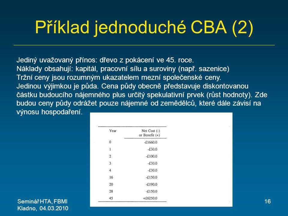 Příklad jednoduché CBA (2) Seminář HTA, FBMI Kladno, 04.03.2010 16 Jediný uvažovaný přínos: dřevo z pokácení ve 45. roce. Náklady obsahují: kapitál, p