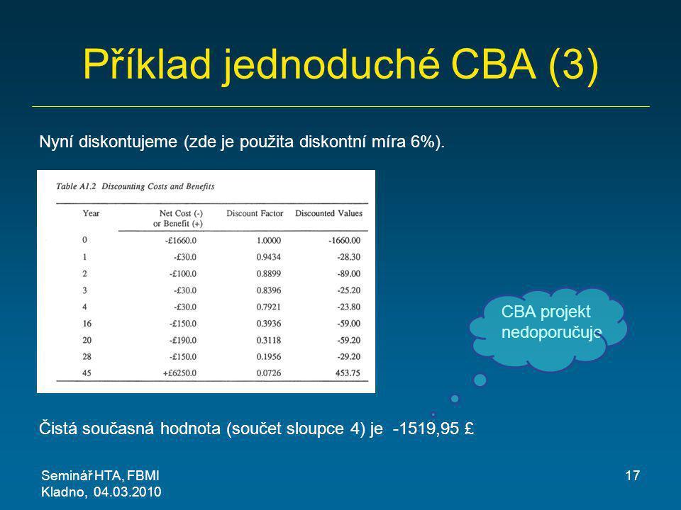 Příklad jednoduché CBA (3) Seminář HTA, FBMI Kladno, 04.03.2010 17 Nyní diskontujeme (zde je použita diskontní míra 6%). Čistá současná hodnota (souče