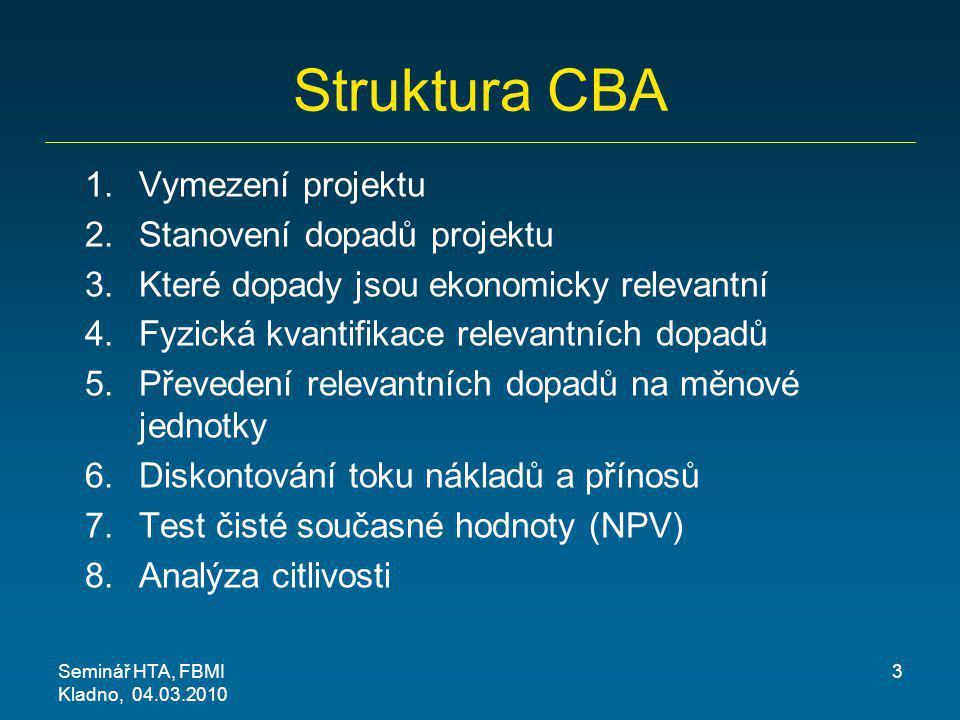 Struktura CBA 1.Vymezení projektu 2.Stanovení dopadů projektu 3.Které dopady jsou ekonomicky relevantní 4.Fyzická kvantifikace relevantních dopadů 5.P