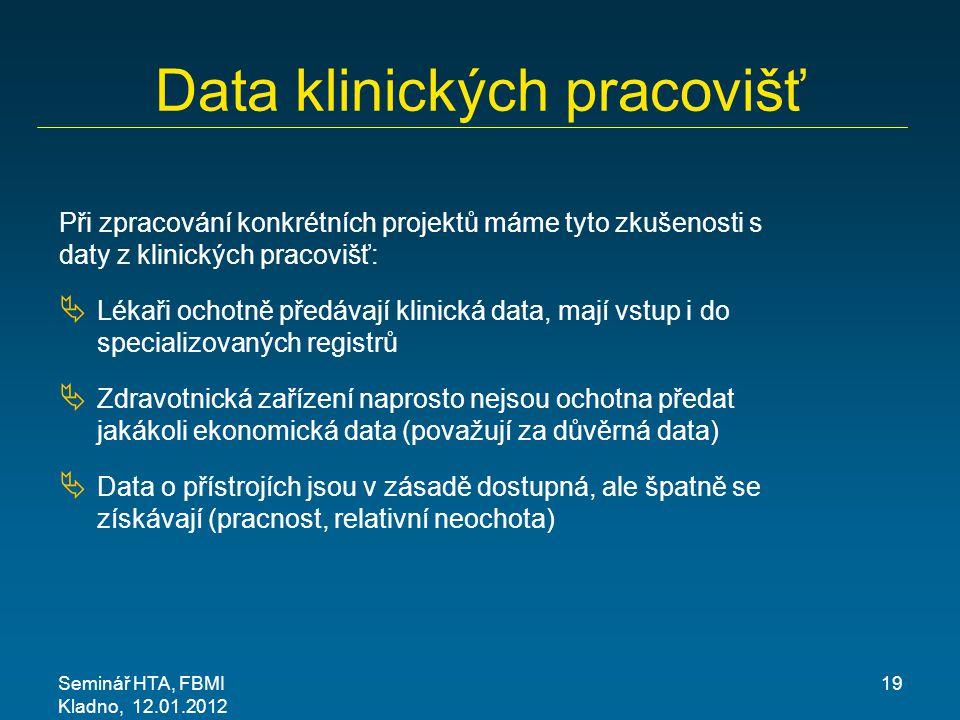 Seminář HTA, FBMI Kladno, 12.01.2012 19 Data klinických pracovišť Při zpracování konkrétních projektů máme tyto zkušenosti s daty z klinických pracovi
