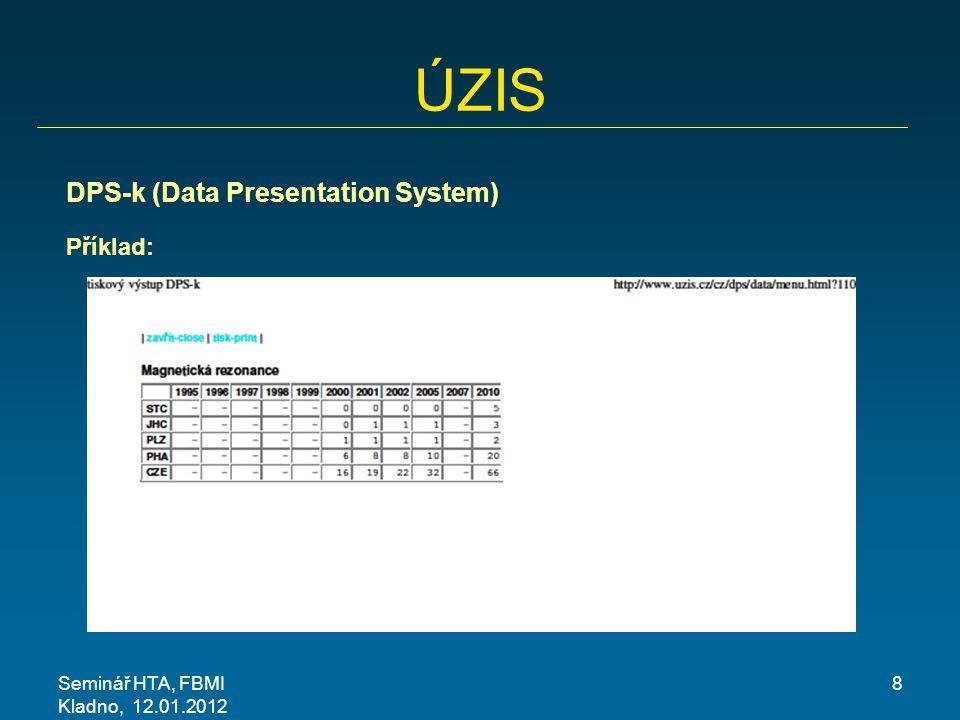 Seminář HTA, FBMI Kladno, 12.01.2012 19 Data klinických pracovišť Při zpracování konkrétních projektů máme tyto zkušenosti s daty z klinických pracovišť:  Lékaři ochotně předávají klinická data, mají vstup i do specializovaných registrů  Zdravotnická zařízení naprosto nejsou ochotna předat jakákoli ekonomická data (považují za důvěrná data)  Data o přístrojích jsou v zásadě dostupná, ale špatně se získávají (pracnost, relativní neochota)
