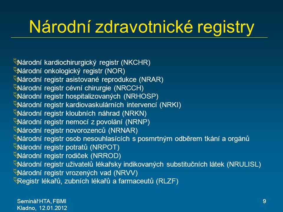 Seminář HTA, FBMI Kladno, 12.01.2012 9 Národní zdravotnické registry  Národní kardiochirurgický registr (NKCHR)  Národní onkologický registr (NOR) 