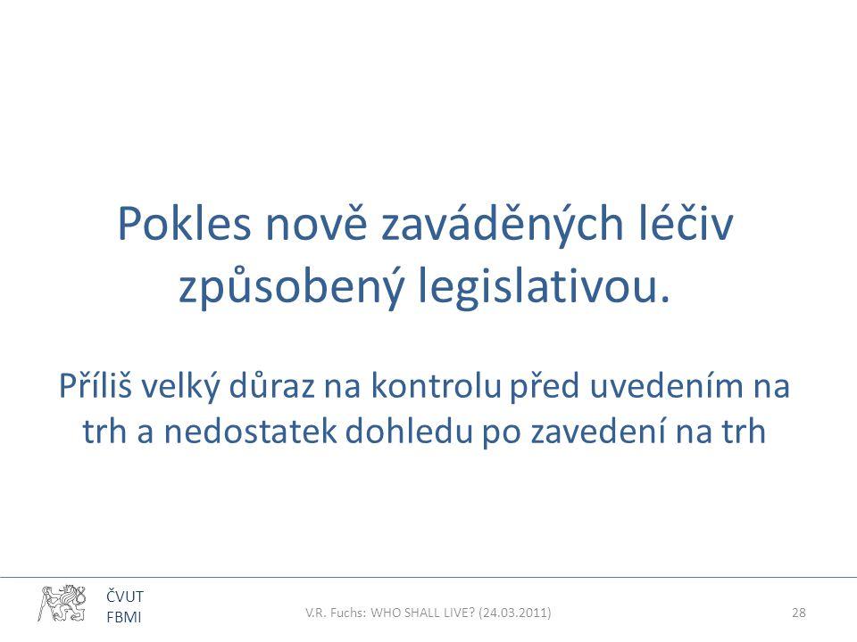 ČVUT FBMI Pokles nově zaváděných léčiv způsobený legislativou. Příliš velký důraz na kontrolu před uvedením na trh a nedostatek dohledu po zavedení na