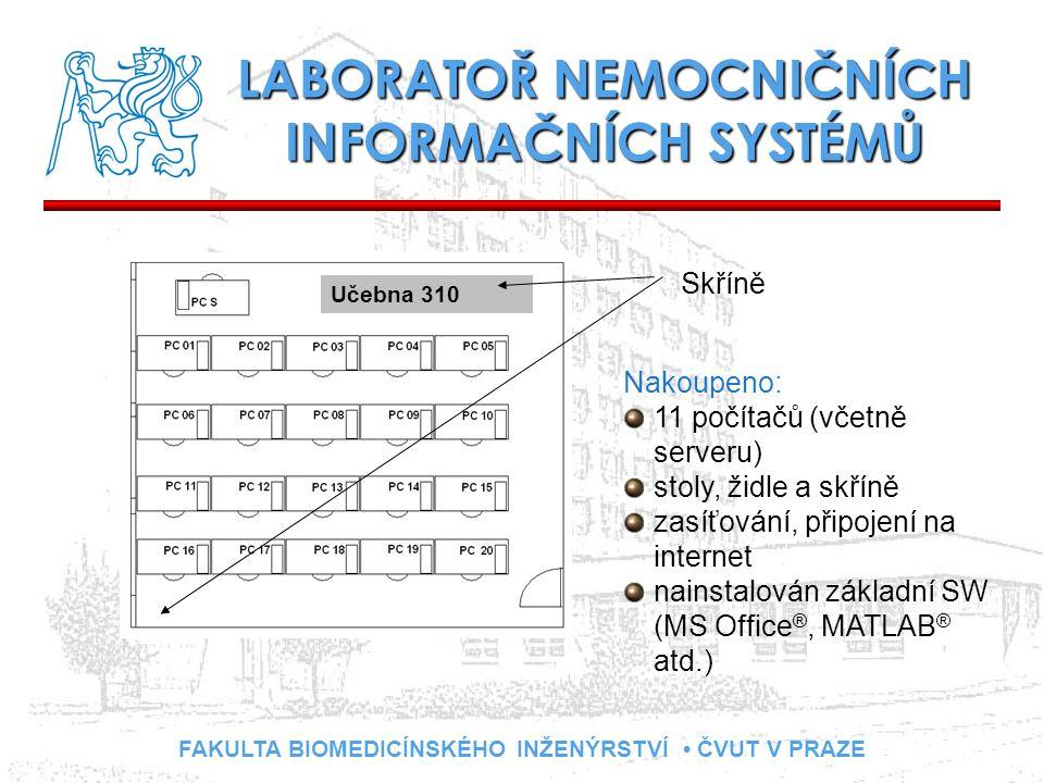 FAKULTA BIOMEDICÍNSKÉHO INŽENÝRSTVÍ ČVUT V PRAZE LABORATOŘ NEMOCNIČNÍCH INFORMAČNÍCH SYSTÉMŮ Učebna 310 Skříně Nakoupeno: 11 počítačů (včetně serveru)