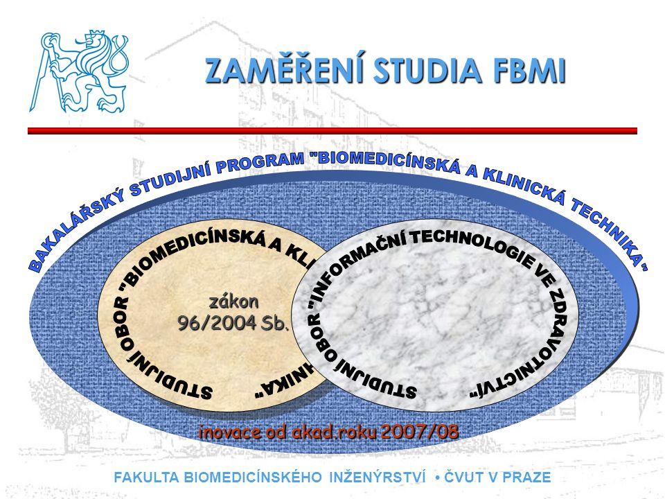 FAKULTA BIOMEDICÍNSKÉHO INŽENÝRSTVÍ ČVUT V PRAZE ZAMĚŘENÍ STUDIA FBMI zákon 96/2004 Sb. inovace od akad.roku 2007/08