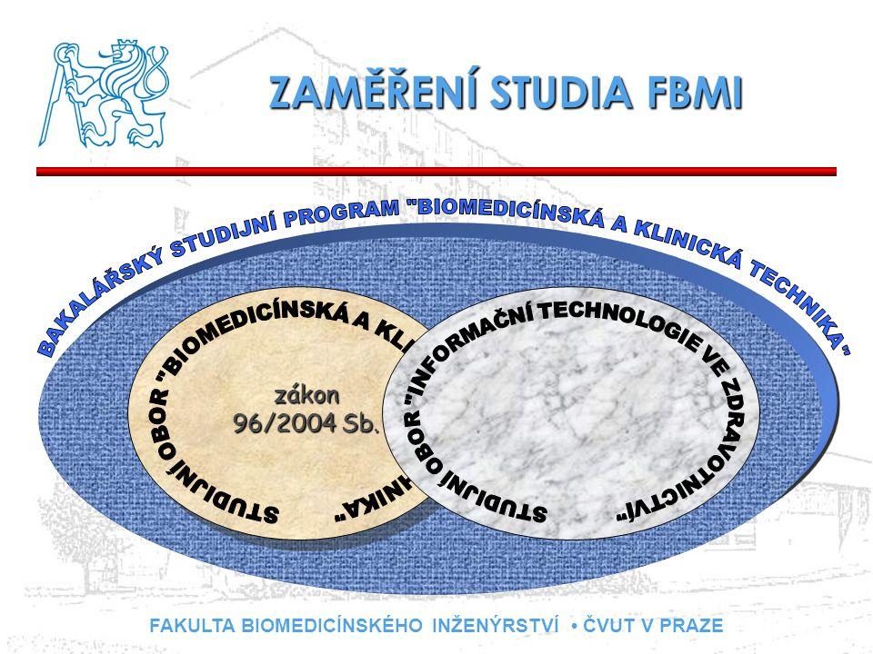 FAKULTA BIOMEDICÍNSKÉHO INŽENÝRSTVÍ ČVUT V PRAZE ZAMĚŘENÍ STUDIA FBMI zákon 96/2004 Sb.