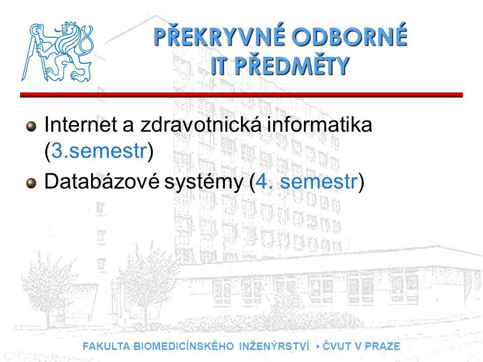 FAKULTA BIOMEDICÍNSKÉHO INŽENÝRSTVÍ ČVUT V PRAZE PŘEKRYVNÉ ODBORNÉ IT PŘEDMĚTY Internet a zdravotnická informatika (3.semestr) Databázové systémy (4.