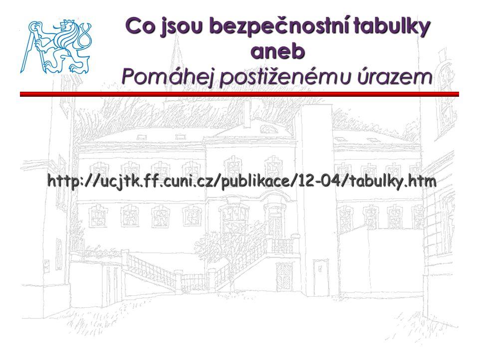 Co jsou bezpečnostní tabulky aneb Pomáhej postiženému úrazem http://ucjtk.ff.cuni.cz/publikace/12-04/tabulky.htm