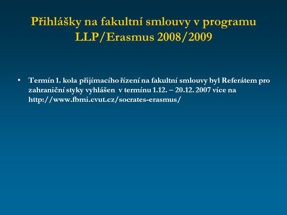 Přihlášky na fakultní smlouvy v programu LLP/Erasmus 2008/2009 Termín 1. kola přijímacího řízení na fakultní smlouvy byl Referátem pro zahraniční styk