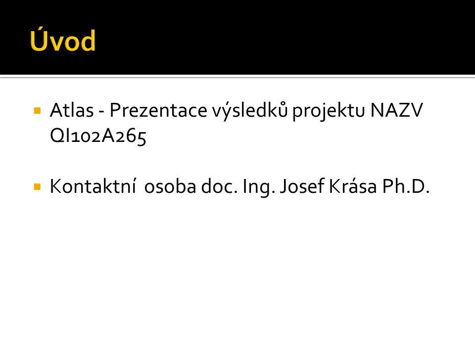  Atlas - Prezentace výsledků projektu NAZV QI102A265  Kontaktní osoba doc. Ing. Josef Krása Ph.D.