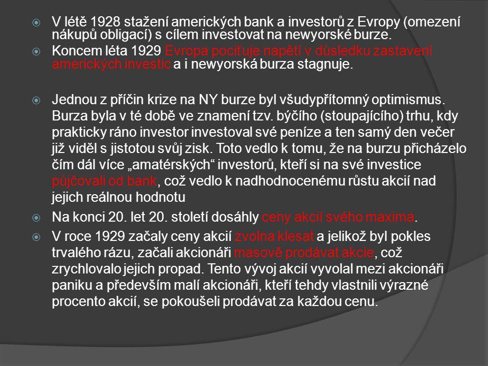  V létě 1928 stažení amerických bank a investorů z Evropy (omezení nákupů obligací) s cílem investovat na newyorské burze.  Koncem léta 1929 Evropa