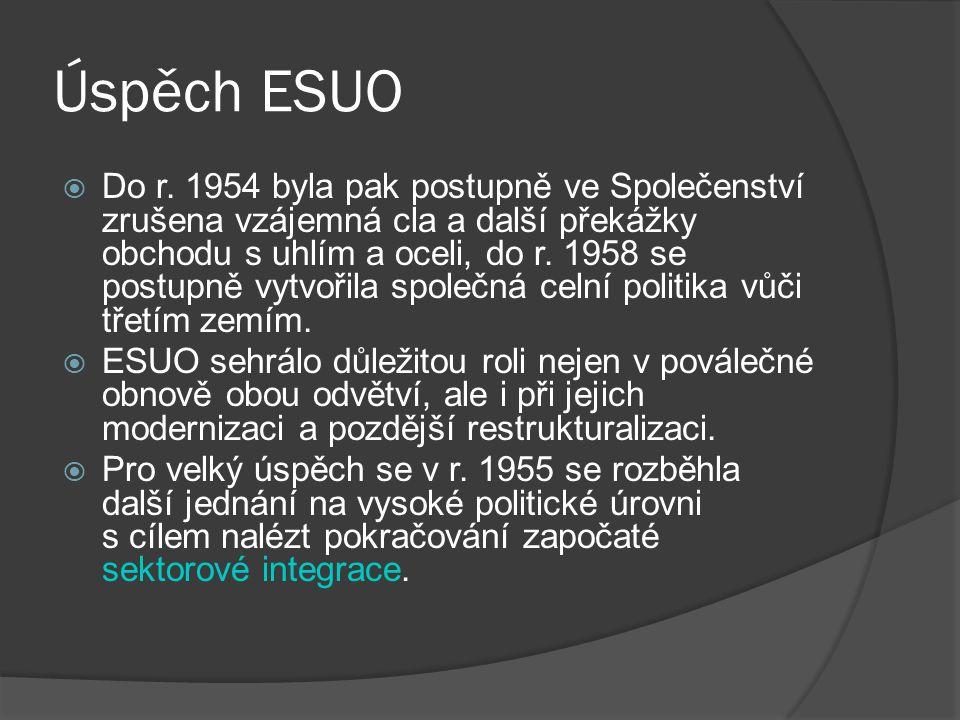 Úspěch ESUO  Do r. 1954 byla pak postupně ve Společenství zrušena vzájemná cla a další překážky obchodu s uhlím a oceli, do r. 1958 se postupně vytvo