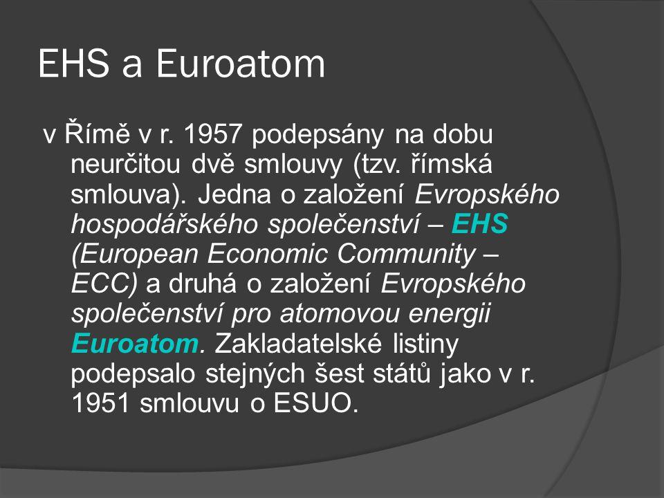 EHS a Euroatom v Římě v r. 1957 podepsány na dobu neurčitou dvě smlouvy (tzv. římská smlouva). Jedna o založení Evropského hospodářského společenství