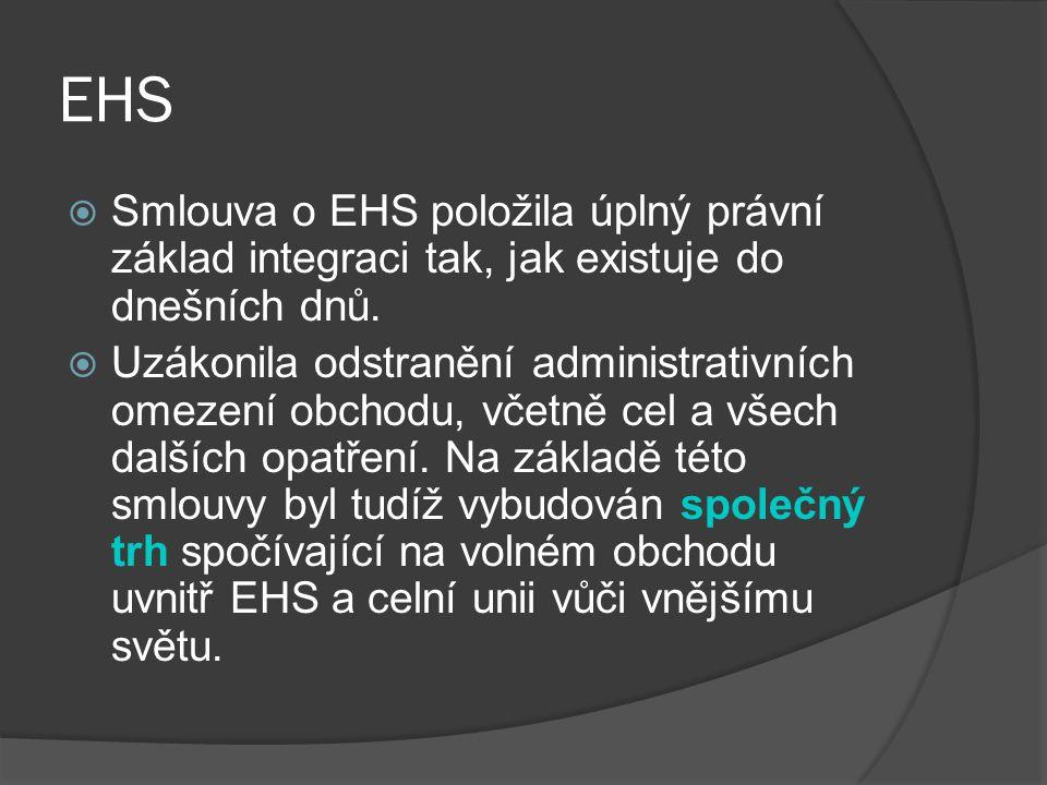 EHS  Smlouva o EHS položila úplný právní základ integraci tak, jak existuje do dnešních dnů.  Uzákonila odstranění administrativních omezení obchodu