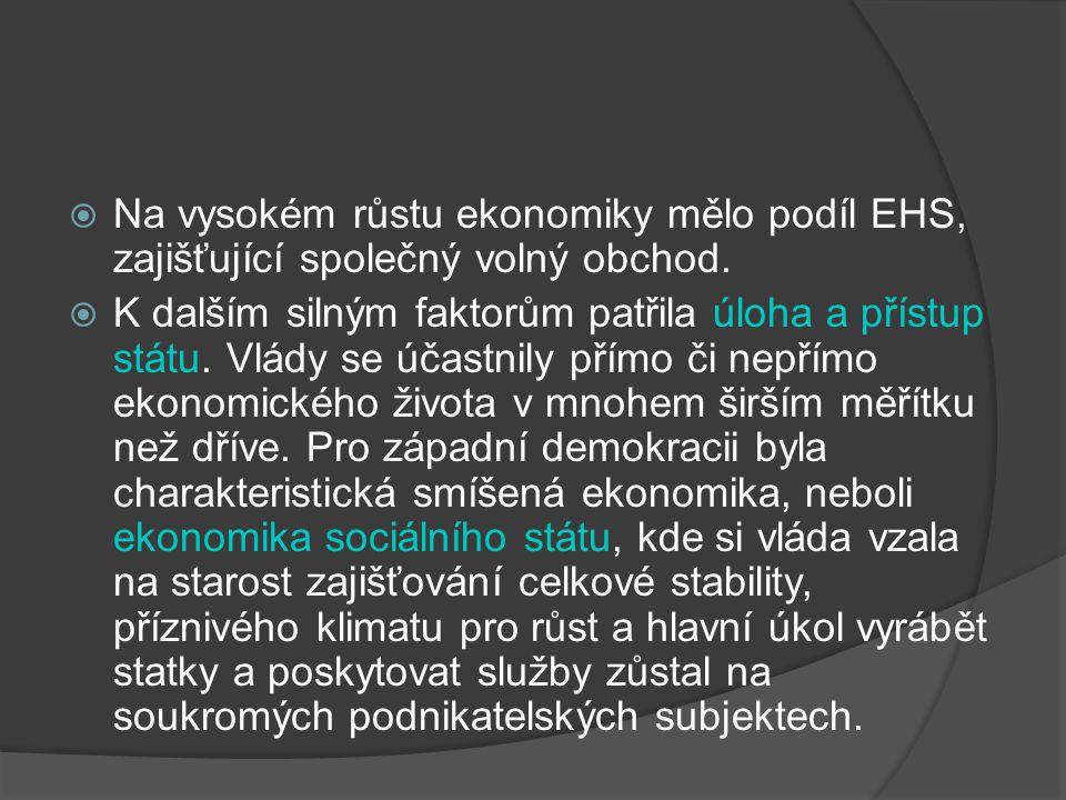  Na vysokém růstu ekonomiky mělo podíl EHS, zajišťující společný volný obchod.  K dalším silným faktorům patřila úloha a přístup státu. Vlády se úča