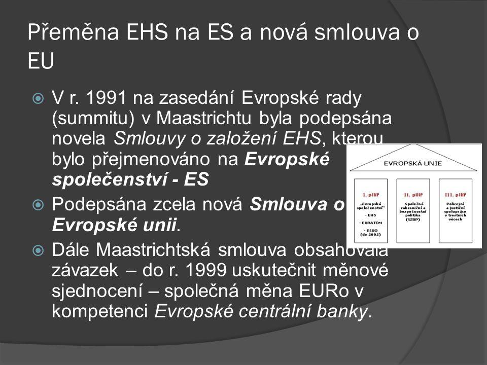 Přeměna EHS na ES a nová smlouva o EU  V r. 1991 na zasedání Evropské rady (summitu) v Maastrichtu byla podepsána novela Smlouvy o založení EHS, kter