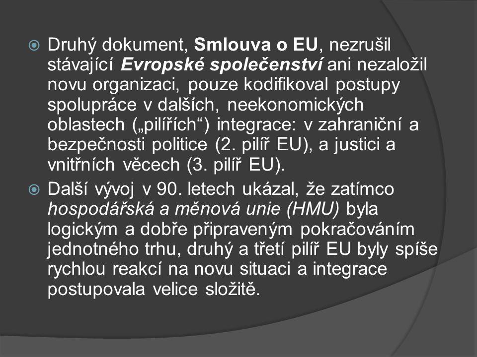  Druhý dokument, Smlouva o EU, nezrušil stávající Evropské společenství ani nezaložil novu organizaci, pouze kodifikoval postupy spolupráce v dalších