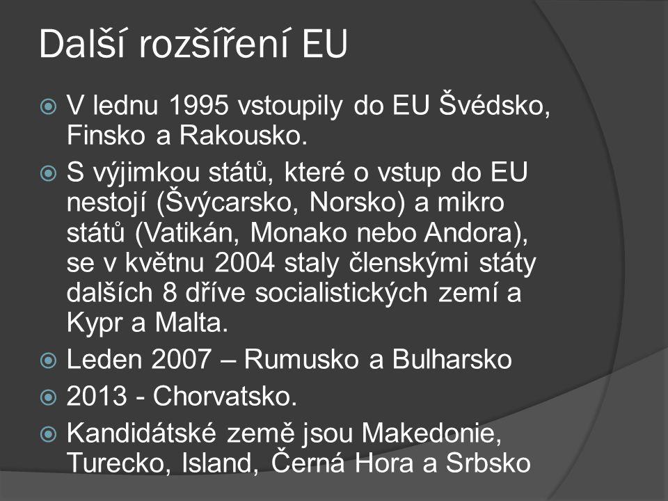 Další rozšíření EU  V lednu 1995 vstoupily do EU Švédsko, Finsko a Rakousko.  S výjimkou států, které o vstup do EU nestojí (Švýcarsko, Norsko) a mi