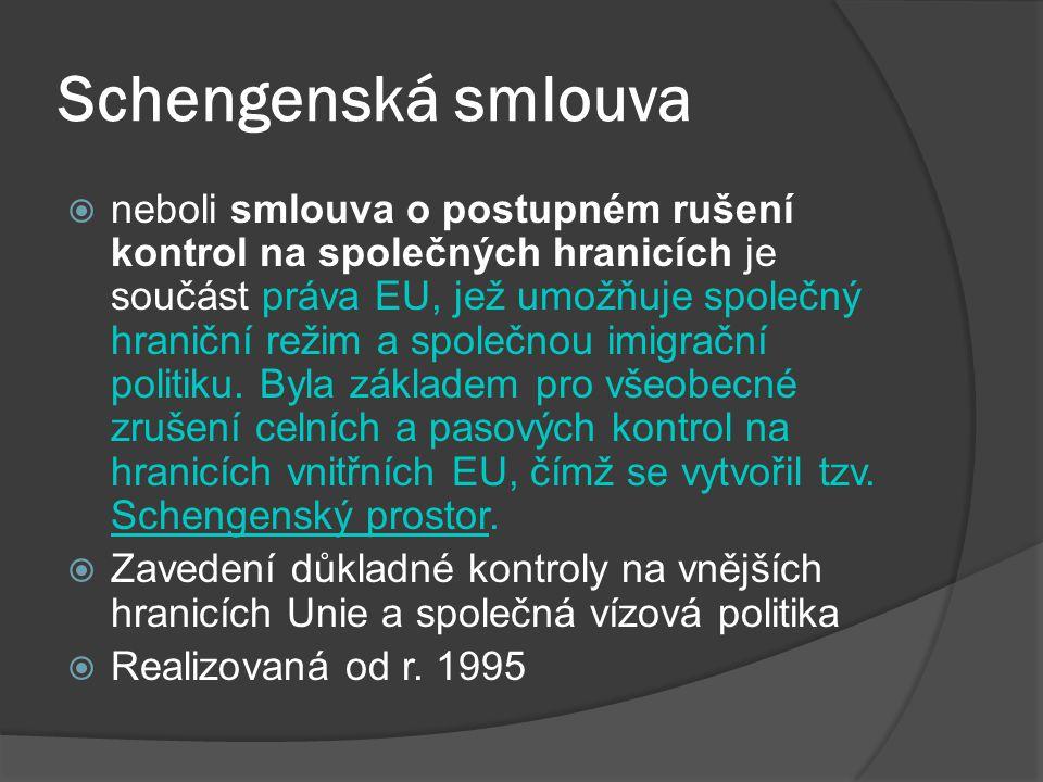 Schengenská smlouva  neboli smlouva o postupném rušení kontrol na společných hranicích je součást práva EU, jež umožňuje společný hraniční režim a sp