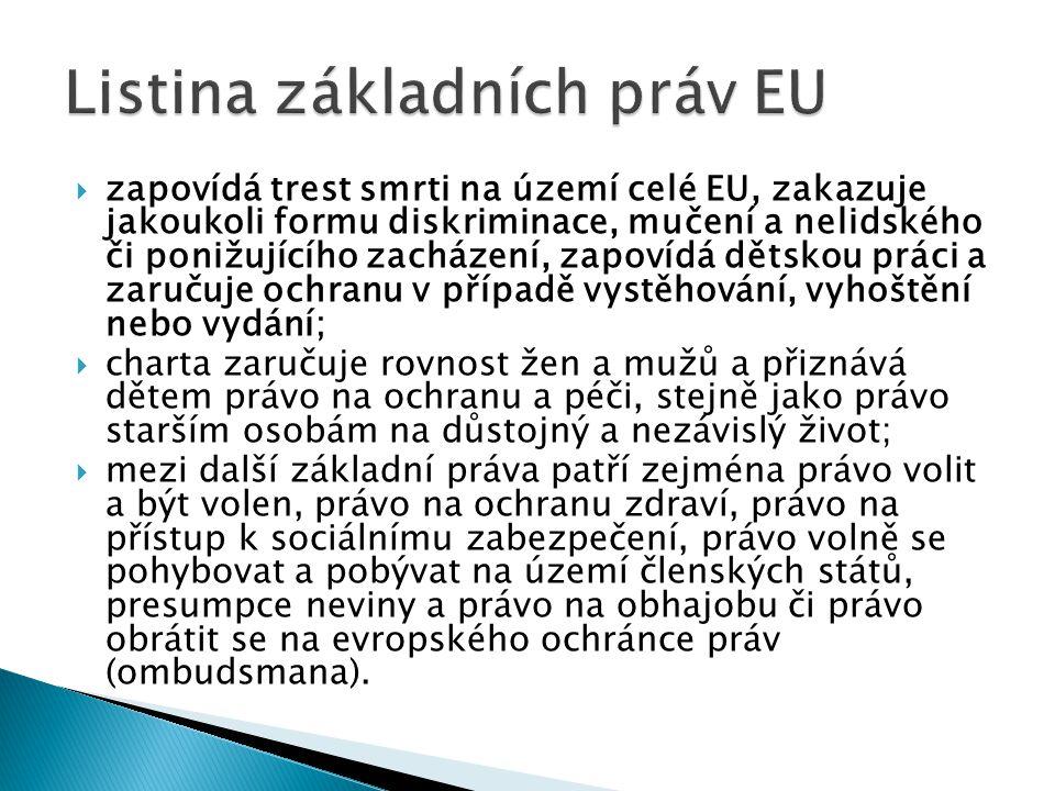  zapovídá trest smrti na území celé EU, zakazuje jakoukoli formu diskriminace, mučení a nelidského či ponižujícího zacházení, zapovídá dětskou práci a zaručuje ochranu v případě vystěhování, vyhoštění nebo vydání;  charta zaručuje rovnost žen a mužů a přiznává dětem právo na ochranu a péči, stejně jako právo starším osobám na důstojný a nezávislý život;  mezi další základní práva patří zejména právo volit a být volen, právo na ochranu zdraví, právo na přístup k sociálnímu zabezpečení, právo volně se pohybovat a pobývat na území členských států, presumpce neviny a právo na obhajobu či právo obrátit se na evropského ochránce práv (ombudsmana).