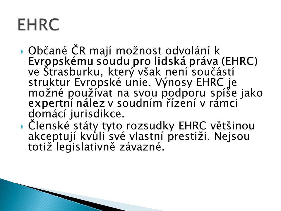  Občané ČR mají možnost odvolání k Evropskému soudu pro lidská práva (EHRC) ve Štrasburku, který však není součástí struktur Evropské unie.