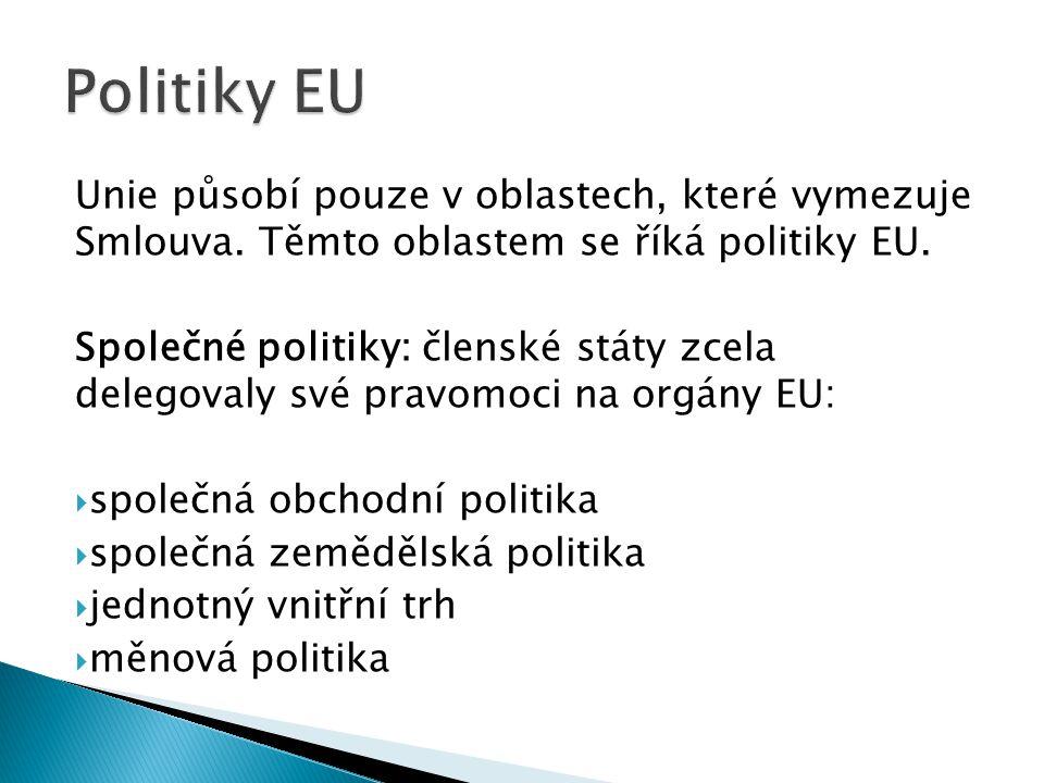 členské státy přenesly svou působnost na orgány EU/ES jen částečně:  občanství  hospodářská a sociální soudržnost (regionální politika),  ochrana spotřebitele  ochrana životního prostředí  dopravní politika  energetická politika  podpora výzkumu a technologického rozvoje