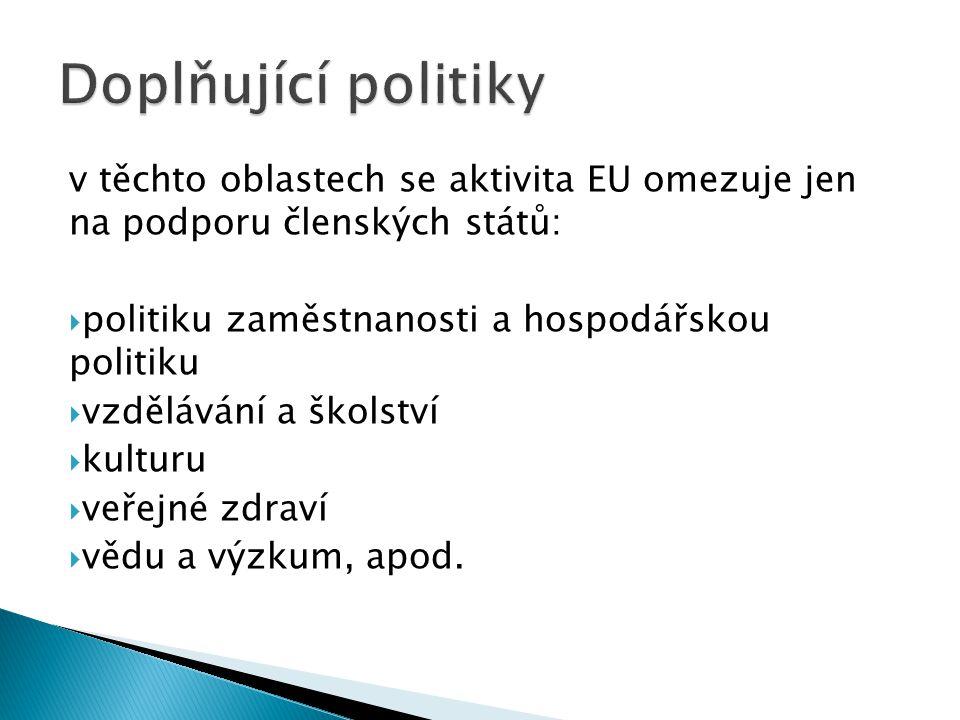 v těchto oblastech se aktivita EU omezuje jen na podporu členských států:  politiku zaměstnanosti a hospodářskou politiku  vzdělávání a školství  kulturu  veřejné zdraví  vědu a výzkum, apod.