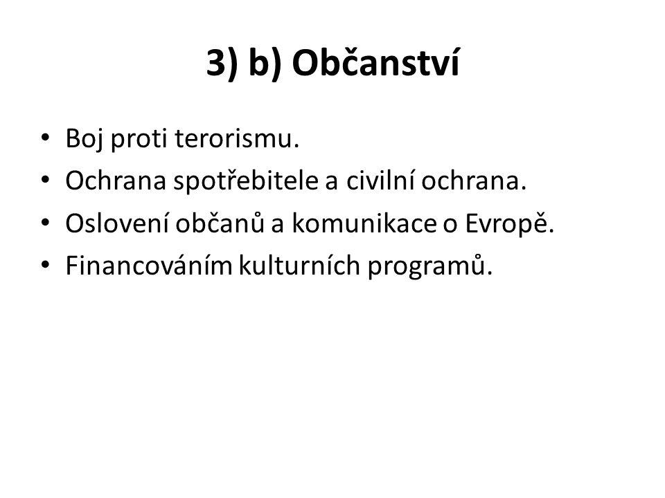 3) b) Občanství Boj proti terorismu.Ochrana spotřebitele a civilní ochrana.